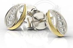 WĘC Kolczyki z brylantami z białego i żółtego złota LPK-85Bz