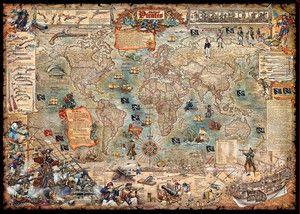 Świat Piratów mapa ścienna stylizowana