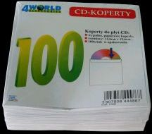 4World Koperty bez okienka CD/DVD papier. 100 szt. (01582)