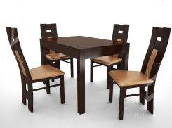 Belini zestaw PRESTIGE 1916 (stół + 4 krzesła orzech ciemny/cappucino)