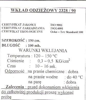 VATEKS WKŁAD ODZIEZOWY STABILNY 2328 BIAŁY