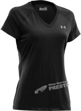 UNDER ARMOUR KOSZULKA DAMSKA WOMENS TECH SHORT SLEEVE V-NECK BLACK (czarny)