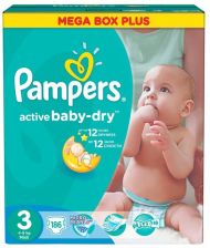 Pampers Active Baby Mega Pack+ Rozmiar 3 Midi 186 Szt.