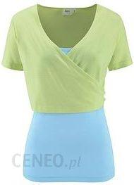 Bluza kopertowa + top (2 części) matowy miętowy - jasnoniebieski