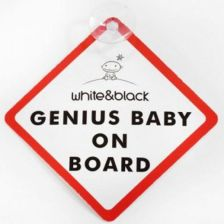White&Black Naklejka Samochodowa Genius Baby On Board