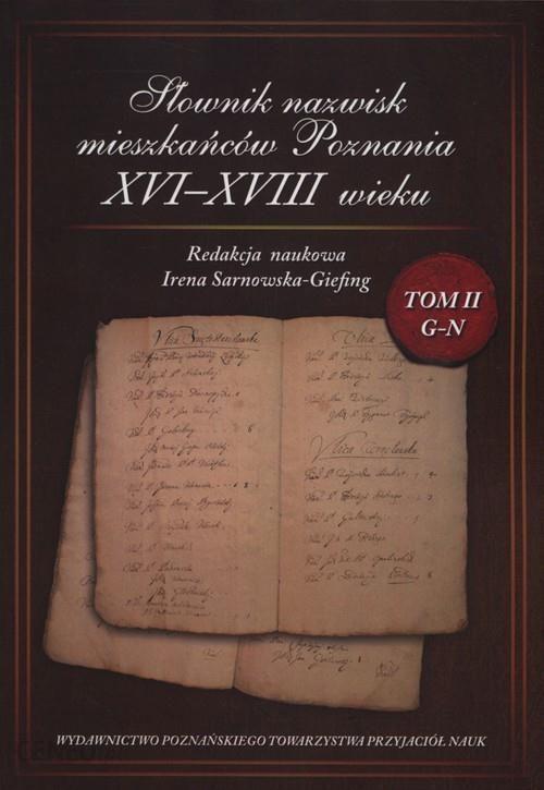 Książka Słownik nazwisk mieszkańców Poznania XVI-XVIII wieku Tom 2 G-N - zdjęcie 1
