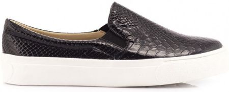 Czarne Slip On Black Slip On Shiny Snake Greta