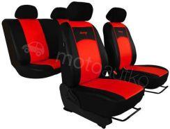 POK-TER Pokrowce samochodowe uniwersalne Eko-skóra Czerwone BMW Seria 5 E60 2003-2010 - Czerwony