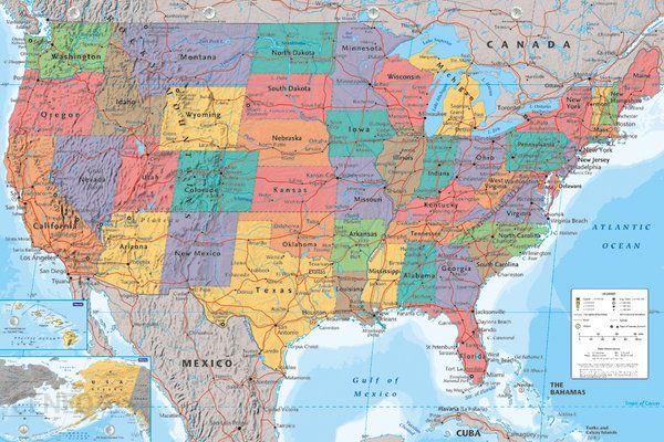 Mapa USA Stany Zjednoczone Plakat Opinie I Atrakcyjne Ceny Na - Usa mapa