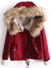 Red Fur Hooded Long Sleeve Drawstring Coat - zdjęcie 1