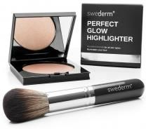 Swederm Perfect Glow Highlighter + Big Brush Złoty rozświetlacz + duży pędzel