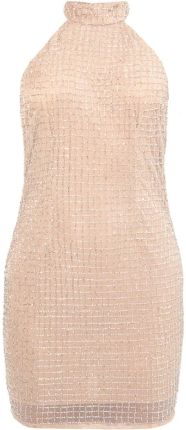 Missguided PEACE LOVE HALTERNECK SMALL GRID EMBELLISHED BODYCON Sukienka koktajlowa silver/nude