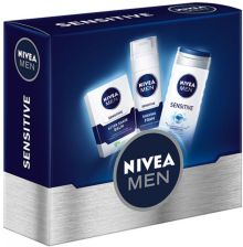 Nivea Men Sensitive 3 Balsam po goleniu Sensitive 100ml + Pianka do golenia Sensitive 200ml + Żel pod prysznic Sensitive 250ml