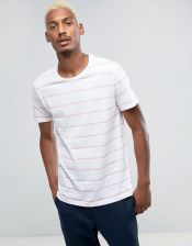Pull&Bear T-Shirt In Pink And White Stripe - Pink