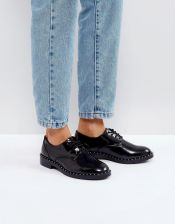 Pull&Bear Patent And Stud Detail Shoe - Black
