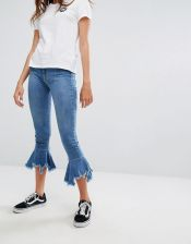 Pull&Bear Fray And Flare Jean - Blue