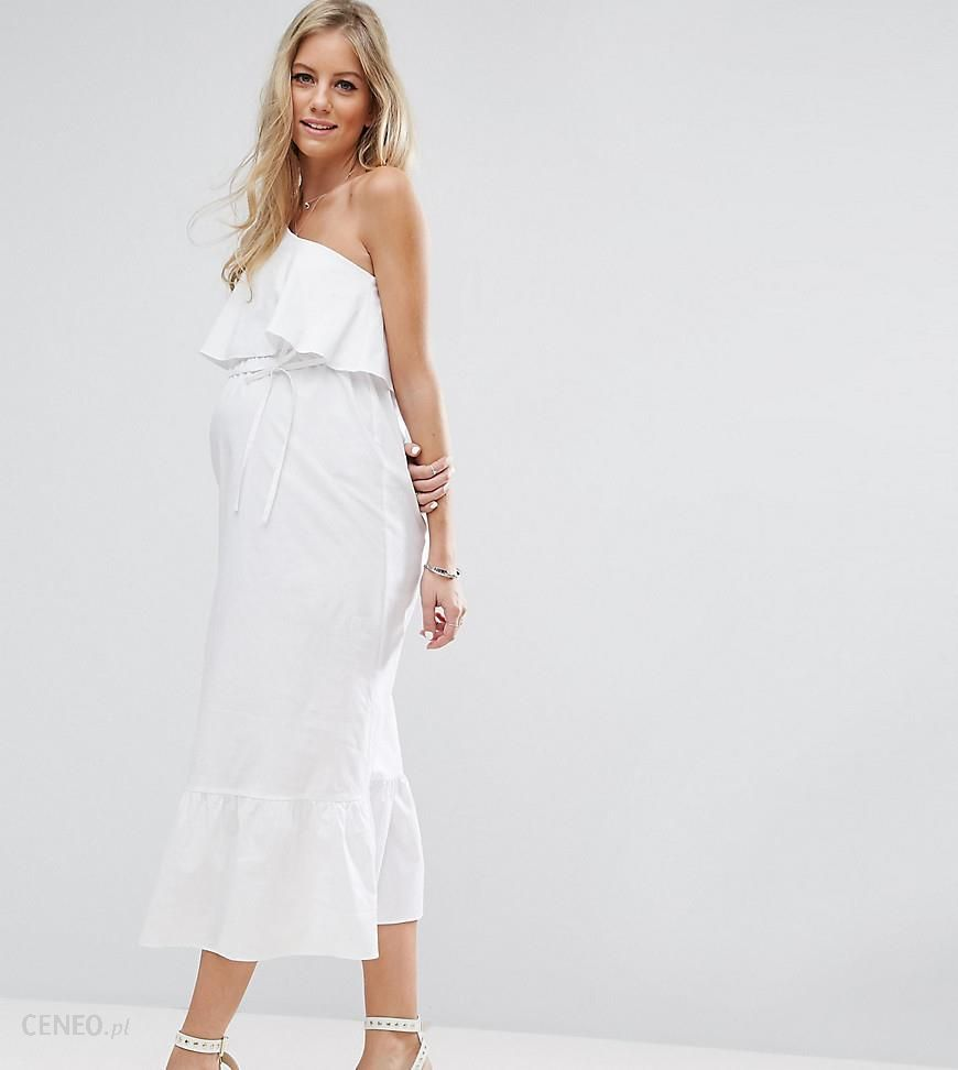 aed9e8cd91c ASOS Maternity Maxi Dress with One Shoulder - White - zdjęcie 1