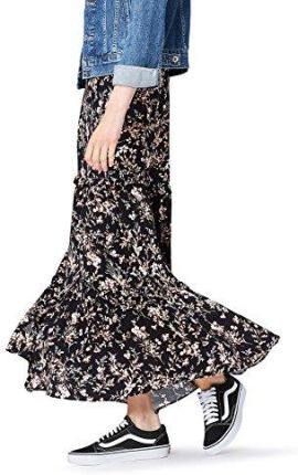 Amazon FIND Damen Rock Floral Tiered Maxi Schwarz (Black Mix), 36 (Herstellergröße: Small)