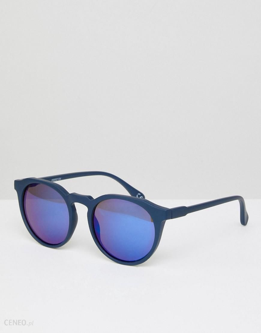 Asos Round Sungl In Matte Navy With Blue Mirror Lens Zdjęcie 1