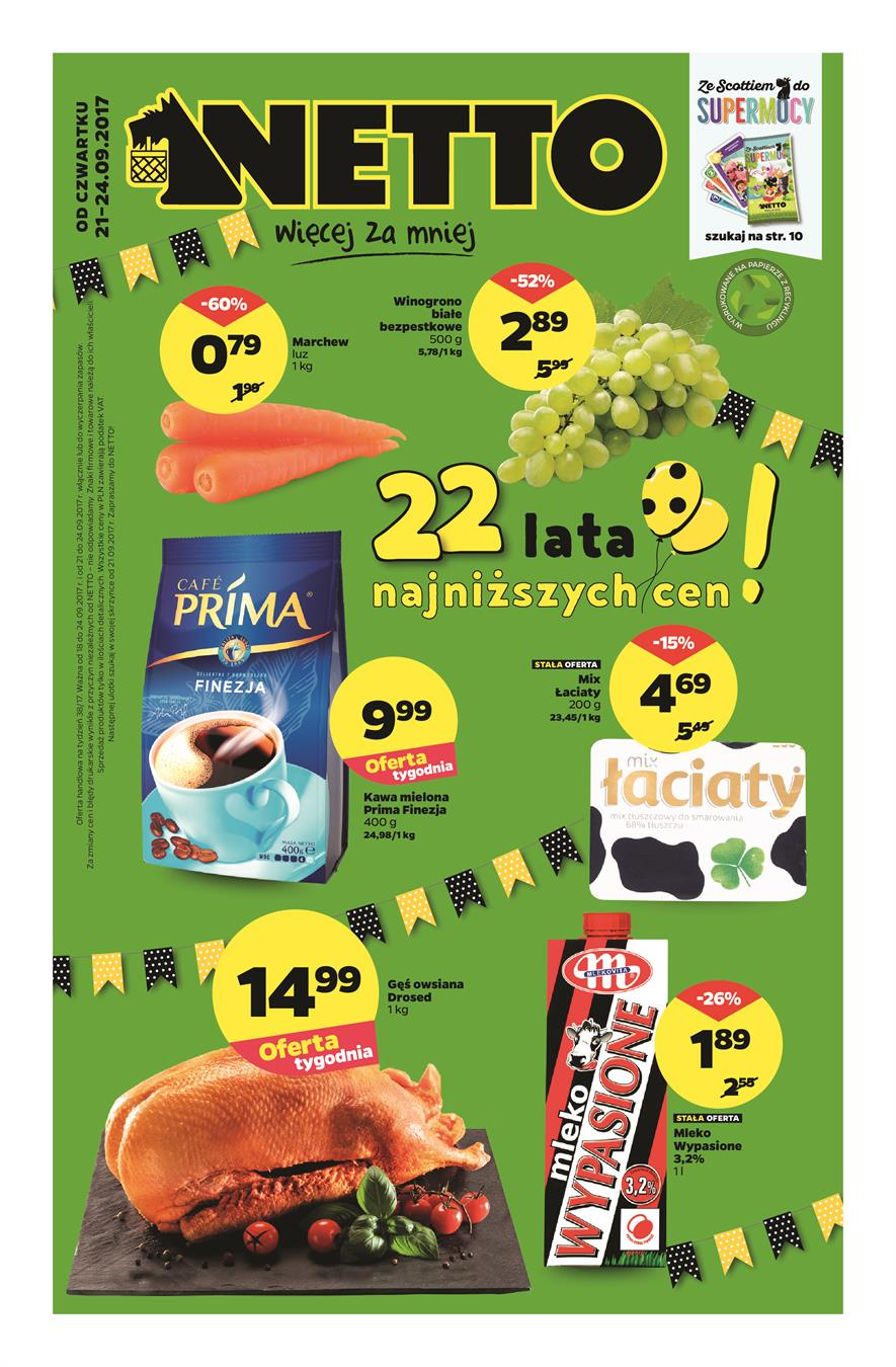 Gazetka Netto Sp. z o.o. nr 0 od 2017-09-21 do 2017-09-24